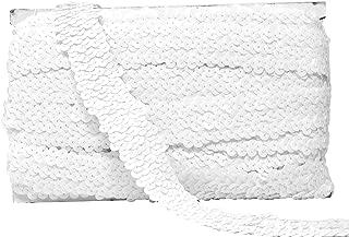 Mandala Crafts Elastic Sequin, Flat Glitter Stretch Bling Paillette Fabric Ribbon, Metallic Appliqué Trim Lace for Dress Embellish, Headband (1 Inch, White)