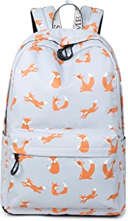 Cute Foxes Backpack Water Resistant Laptop Backpack Bookbags School Bags Travel Daypack by VOLINER Gray