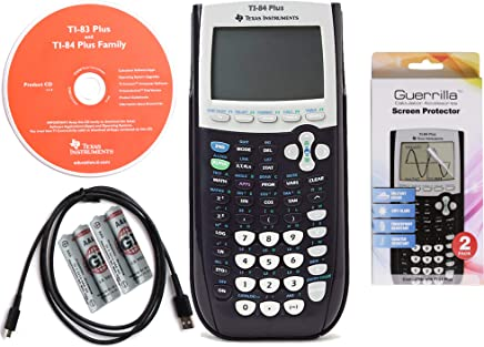 $89 Get Texas Instruments TI 84 Plus Graphing Calculator with Guerrilla Military Grade Screen Protector Set, Certified Reconditioned