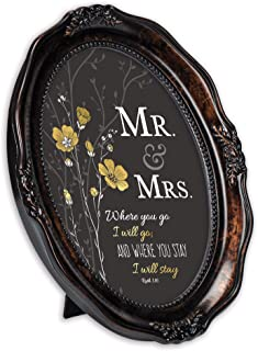 Cottage Garden Mr. & Mrs. You Stay Inspirational Burlwood Finish Wavy 5 x 7 Oval Table and Wall Photo Frame