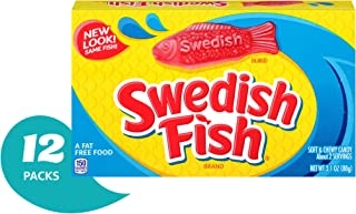 Swedish Fish Gummy Candy, Original, Theater Size Boxes, 3.1 oz (Pack of 12)