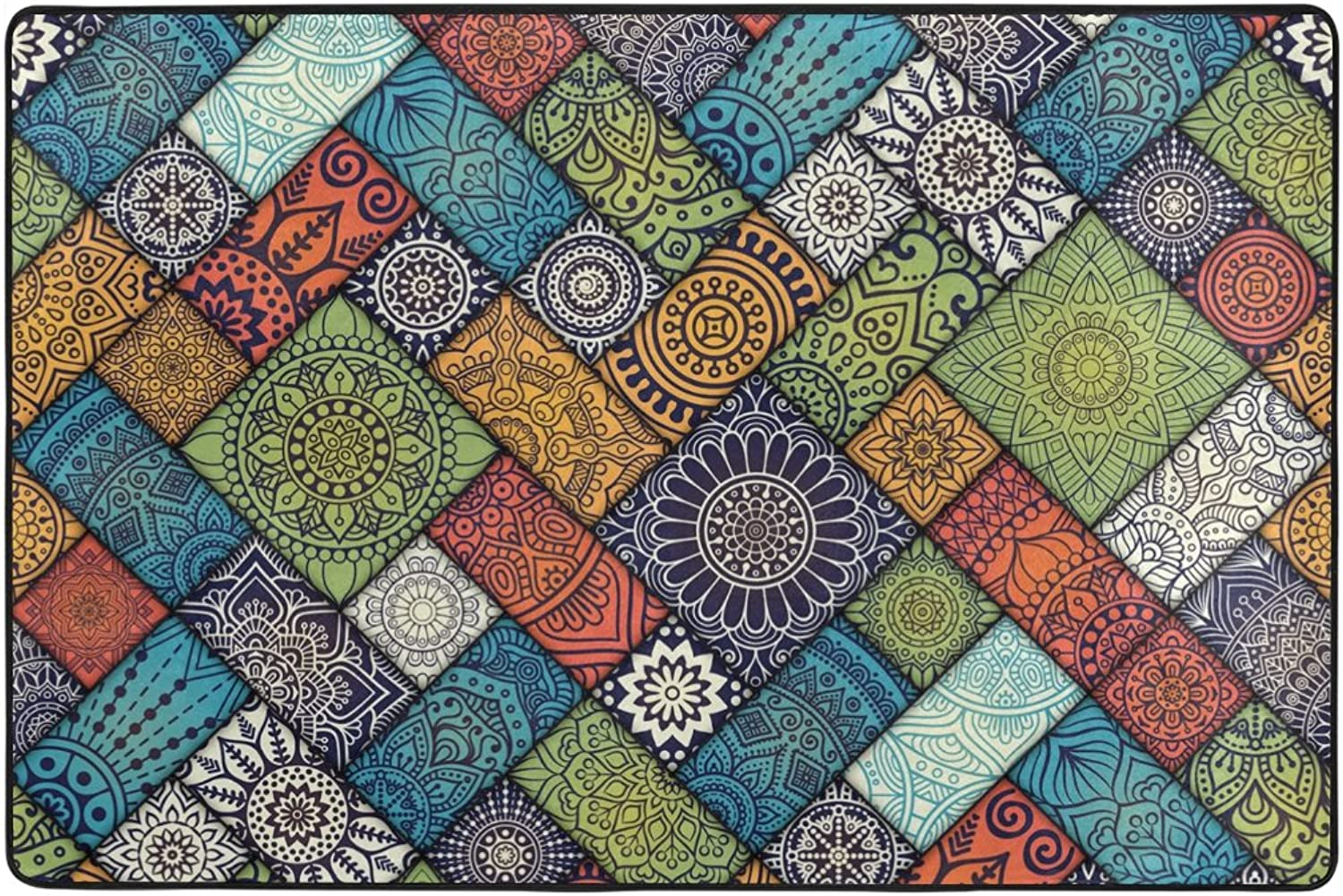 Diagonal Floral Pattern colorful Mandalas Grid Area Rugs Door Mat 6'x4' Polyester Nonslip Entrance Home Decor for Bedroom Living Room Mats Front Indoor Outdoor