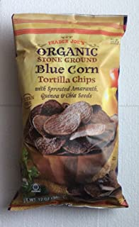 Trader Joe's Organic Stone Ground Blue Corn Tortilla Chips with Sprouted Amaranth, Quinoa & Chia Seeds - 12 Oz. (Pack of 2 -Total of 24 Oz.)