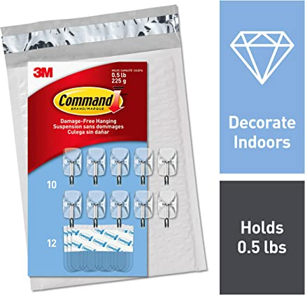 Command 0.5 lb Capacity Wire Hooks, Organize Damage-Free, Small, Indoor Use, Easy to Open Packaging (CL067-10NA)