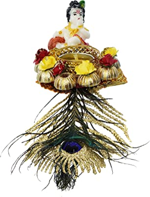 Webelkart Premium Lord Krishna Idol on Decorative Handcrafted Tealight Holder for Home Decorative Showpiece - 10.50 x 4 x 3 inch (Poly-Resin, Multi Color)