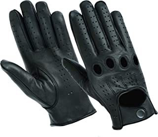 NEW Men's Water Resistant Perforated Leather Driving, Riding, Motorcycle Gloves