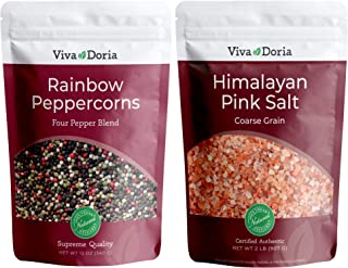 Viva Doria Rainbow Peppercorn Blend (Steam Sterilized Whole Black, White, Green and Pink Peppercorn) 12 oz and Himalayan P...