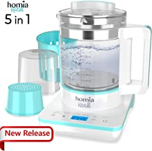 Baby Milk Formula Maker Kettle - 5 in 1 Multifunctional Bottle Warmer with Warm, Steam, Sterilize, Tea Maker and Preset Functions, Digital Touch Panel and Precise Temperature Control in Celsius, 110V