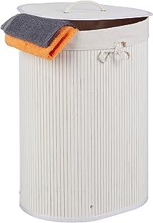 Relaxdays Panier à linge en bambou, ovale, 46 L, pliable, couvercle, bain et chambre ; 55 x 42 x 32 cm, choix de couleurs ...