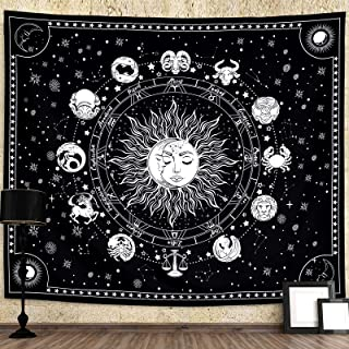 AMBAYLA Sun and Moon Tapestry Zodiac Constellation Tapestry Wall Hanging Stars Space Tapestry Aesthetic Wall Decor Black a...
