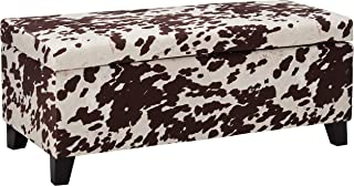 Christopher Knight Home Living Brienne Velvet Print Storage Ottoman Bench, Milk Cow