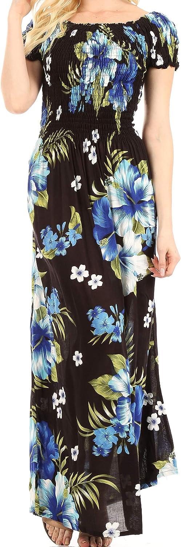 Sakkas Tulay Women's Casual Maxi Floral Print Off Shoulder Dress Short Sleeve Nice
