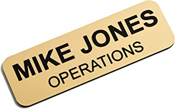 Custom Engraved Name Tag Badges – Personalized Identification with Pin or Magnetic Backing, 1 Inch x 3 Inches, European Gold/Black