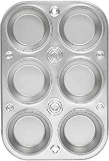 EZ Baker Steel 6-Cup Muffin Pan - American-Made, Natural Baking Surface that Heats Evenly for Perfect Baking Results
