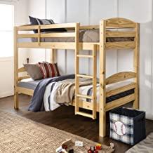 WE Furniture Wood Twin Bunk Kids Bed Bedroom with Guard Rail and Ladder Easy Assembly, Natural