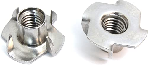 """T-Nut 3/8""""-16 x 7/16"""" Stainless Steel, (50 Pack) Choose Size/Quantity, by Bolt Dropper, Pronged Tee Nut. for Wood, Ro..."""