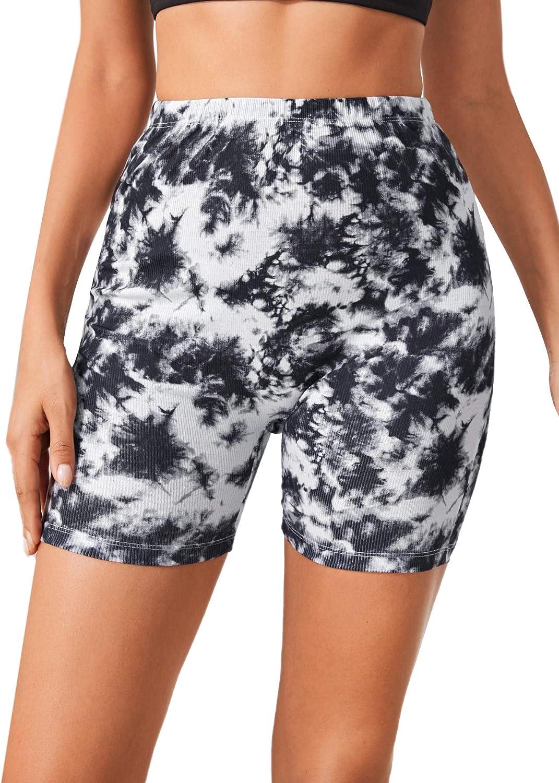 Floerns Womens High Waist Tie Dye Skinny Biker Shorts