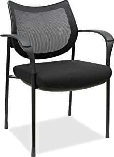 Fabric Black Seat Lorell Mesh Back Guest Stool Square Base 23.6 Width x 22.9 Depth x 42.9 Height