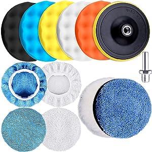 SIQUK 13 Pieces Buffing Pads 6 Inch Car Polishing Pad Kit Foam Polish Pads Wax Buffer Polisher Attachment for Drill