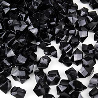 CYS EXCEL Acrylic Ice Rocks for Vase Fillers, Acrylic Gems for Table Scatters, Event, Wedding, Birthday Decoration (Acrylic Ice Black, 1 Pound)