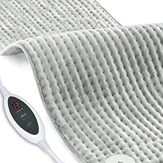 Heat Pad, RUEOO Electric Heating Pad Warm for Pain Relief 18''*30'' Fast Heating with 6 Time Setting Skin-Friendly Fabric&Machine Washable for Neck Shoulder Back Knee, Home Office Use