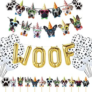Dog Birthday Party Supplies, Paw Patrol Balloons WOOF Letter Balloon Dog Faces Claws Banner and Dog Cake Toppers for Pet Puppy Birthday Decorations