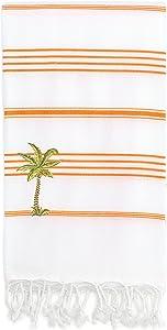 Linum Home Textiles Lucky - Palm Tree Peseta Beach Towel, White & Dark Orange
