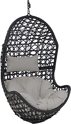 high quality Sunnydaze Cordelia Hanging Egg Chair Swing - Resin high quality Wicker Porch Swing - Large new arrival Basket Design Patio Swing - All-Weather Construction - Outdoor Lounging Chair - Includes Gray Cushion and Headrest online