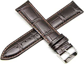 Lucien Piccard 22MM Alligator Grain Genuine Leather Watch Strap Band 8.5 Inches Dark Brown with Silver Buckle