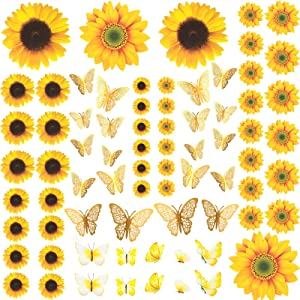 78 Pieces Sunflower Wall Stickers with Gold 3D Butterfly Wall Decor Yellow Flower Decals Waterproof Removable Mural Stickers for Nursery Kids Bedroom Living Room Bathroom Kitchen Decorations
