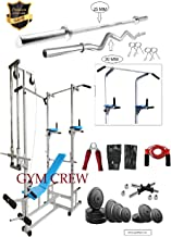 GymCrew ABS Tower with 20 in 1 Bench (Rectangle Pipe 2x2 INCH) + 50 KG Rubber Weight + 5FT Plain Rod (25 mm) + 3 FT Curl Rod (20 mm)(Silver)
