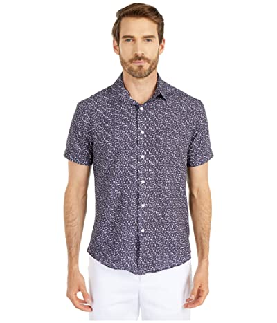 Vince Camuto Short Sleeve Sport Shirt (Purple Butterfly Sport Shirt) Men