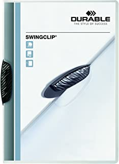 DURABLE Report Cover with SWINGCLIP, Letter-size, Holds Up to 30 Pages, Clear Cover/Black, 5 Pack (226401)