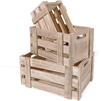 SLPR Decorative Storage Wooden Crates (Set of 3, Natural Wood) | Unfinished Wood Crate Box | Wooden Storage Fruit Crate