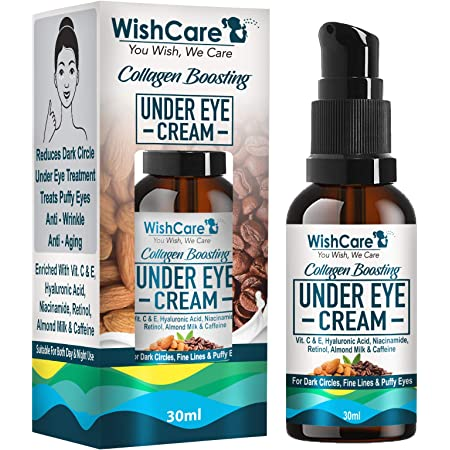 WishCare Collagen Boosting Under Eye Cream For Dark Circles & Wrinkles - Enriched With Caffeine, Almond Milk, Vitamin C& E, Hyaluronic Acid, Retinol - 30ml