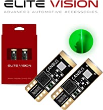 Elite Vision 194 168 T10 192 2825 W5W Titanium Series LED Non-Polarity 400LM Bright Green for Dome Map Courtesy Door License Plate Cargo Interior Lights (Pack of 2)