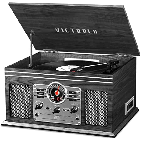 Victrola Nostalgic 6-in-1 Bluetooth Record Player & Multimedia Center with Built-in Speakers - 3-Speed Turntable, CD & Cassette Player, AM/FM Radio | Wireless Music Streaming | Grey