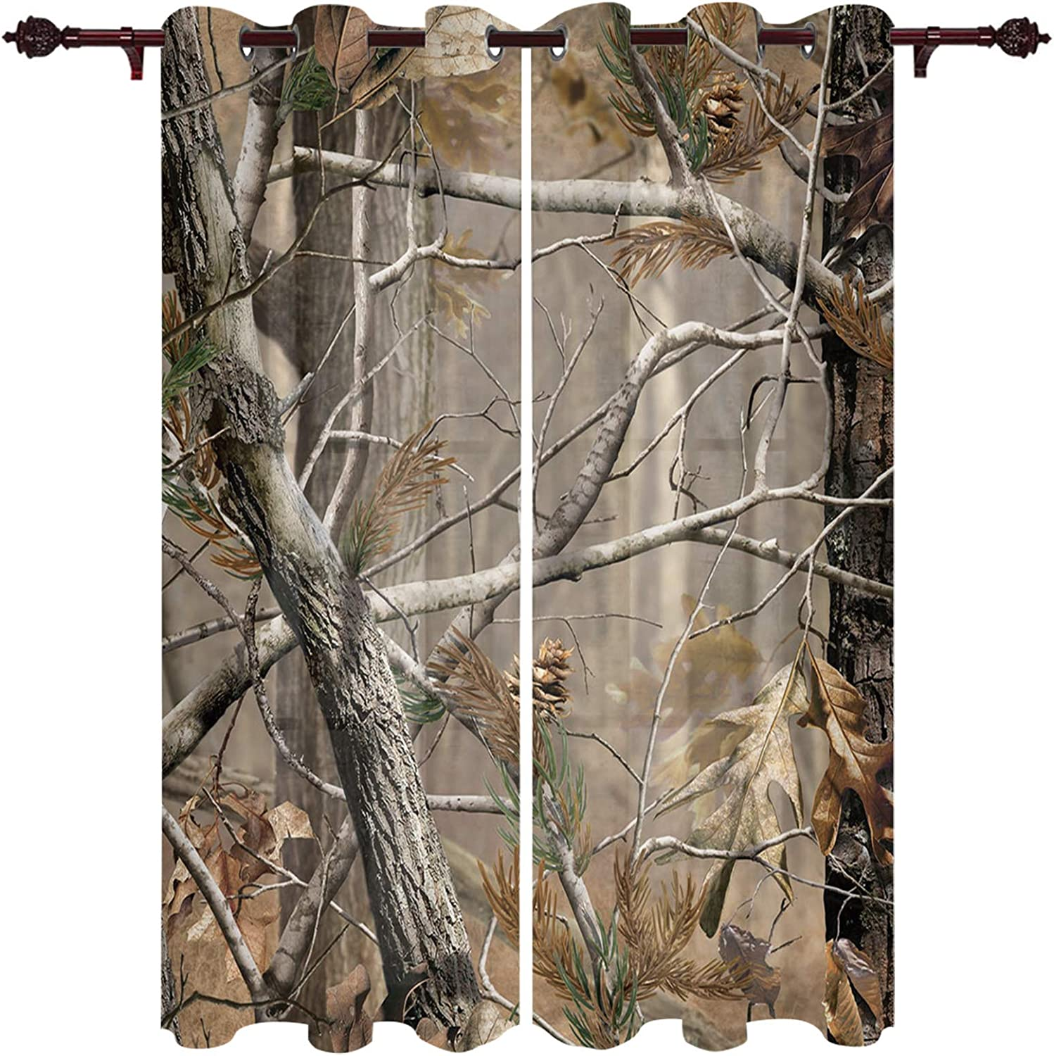 store Max 79% OFF Blackout Curtains Real Camo Therm Camouflage Room-Darkening Tree