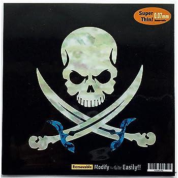 Adhesivo con incrustaciones para guitarra y bajo, diseño de calavera pirata: Amazon.es: Instrumentos musicales