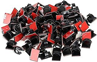 GWHOLE ケーブルクリップ ケーブルドロップ コードグリップ 配線固定クリップ 粘着シート付 PC関連ケーブル 車の配線 整理 約100個セット【一年安心保証】
