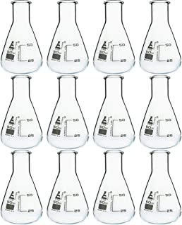 EISCO Erlenmeyer (Conical) Flask, Borosilicate, 50mL, Pack of 12