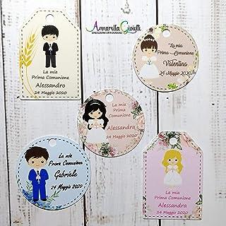 Cartellini Prima Comunione personalizzati, a partire da 20 pezzi, per bomboniera, classico, rettangolo, tondo, etichette, ...
