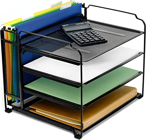 high quality CAXXA 4 Tier Mesh Document Trays with Vertical Upright Section for Hanging File Holders, Mesh online Office outlet online sale Supplies Desk Organizer, BLACK outlet online sale