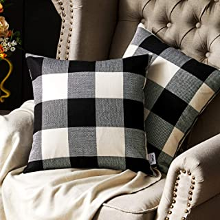Western Home Decorative Throw Pillow Covers, Farmhouse Buffalo Check Plaid Pillowcase, Linen Cushion Cover Case for Couch Sofa Bed Black and White 18x18 Inch, Pack of 2