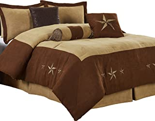 Chezmoi Collection Winslow 7 Pieces Western Star Embroidery Design Microsuede Bedding Oversized Comforter Set (California King 108