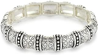 Silver-Tone Textured Stretch Bracelet