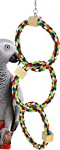 Bonka Bird Toys Twin Tri Rainbow Ring Swing Perch Toy Parrot cage Cages African Grey Cockatiel Conure