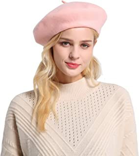 ZHWNSY Berets for Women Wool French Beanies Hat Solid Color Lightweight Casual