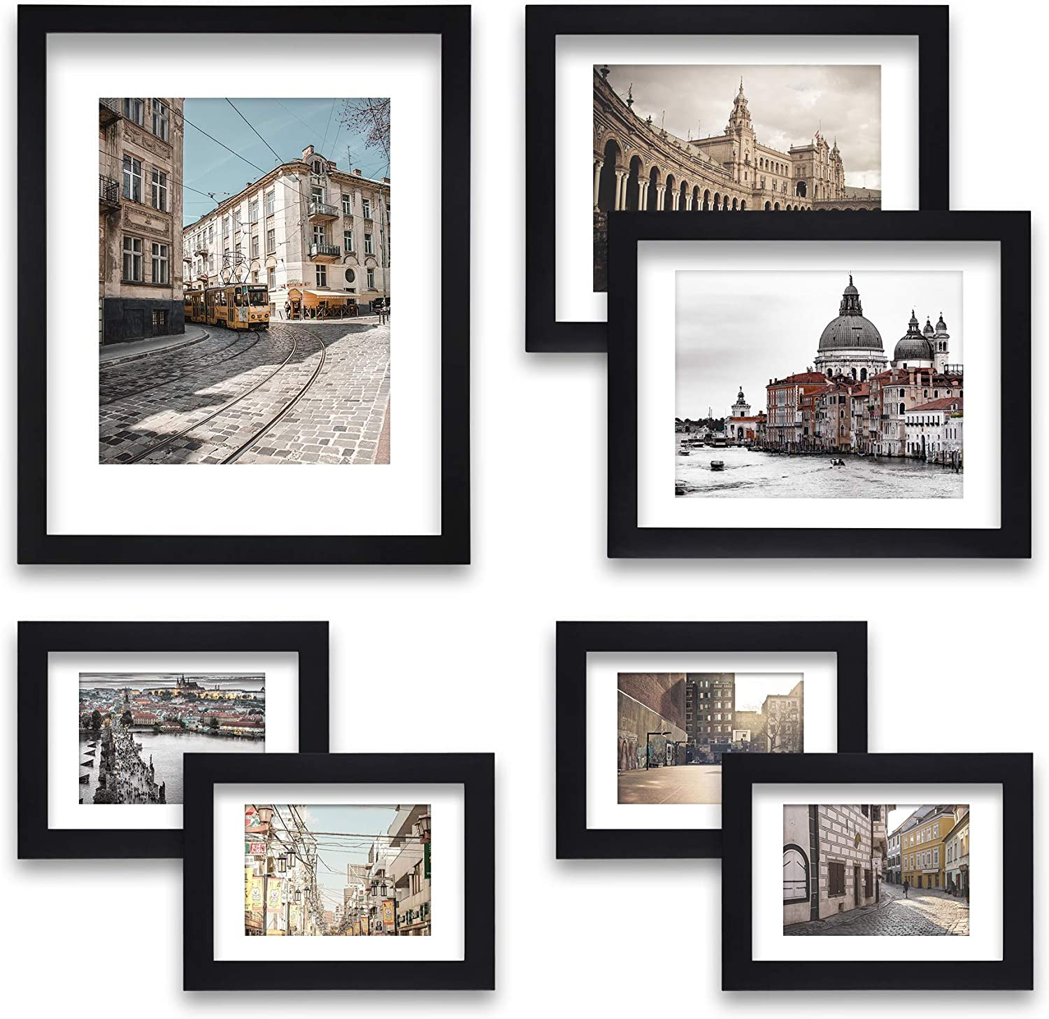 Our shop most popular 7 Pack Black Picture Photo Frame Set - Spring new work one after another 5x7 2pcs 8x10 4pcs 1pc
