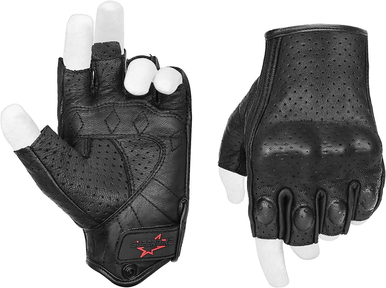 Mens Leather Fingerless Half-Finger Driving Motorcycle Gloves BlackBlue Thread
